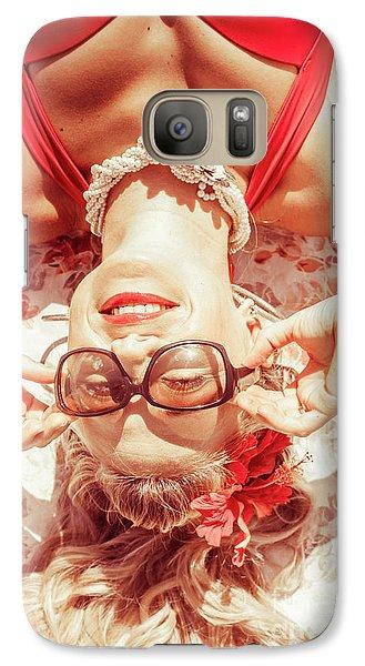 Retro 50s Beach Pinup Girl Galaxy S7 Case