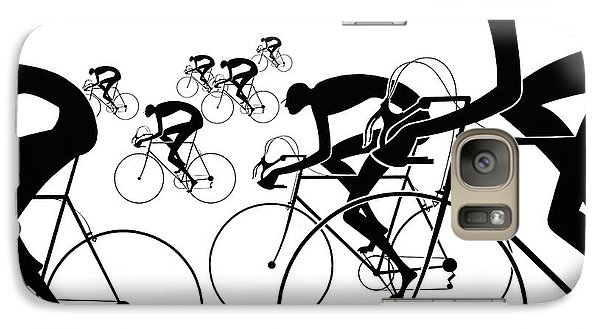 Galaxy Case featuring the photograph Retro Bicycle Silhouettes 1986 by Padre Art