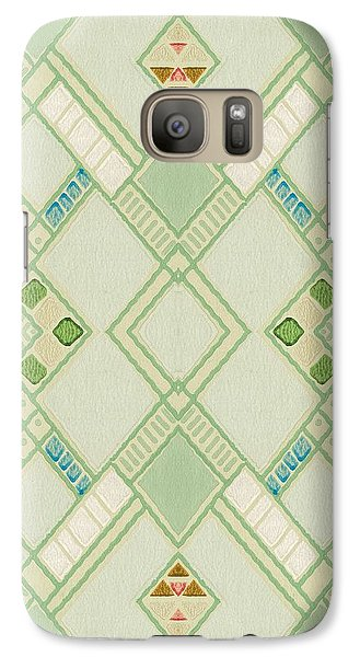 Galaxy Case featuring the digital art Retro Green Diamond Tile Vintage Wallpaper Pattern by Tracie Kaska