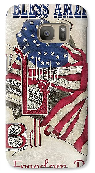 Galaxy Case featuring the digital art Retro Patriotic-a by Jean Plout