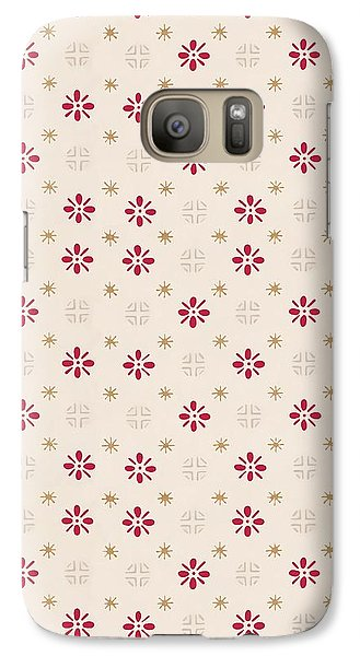 Galaxy Case featuring the digital art Retro Red Flower Gold Star Vintage Wallpaper by Tracie Kaska