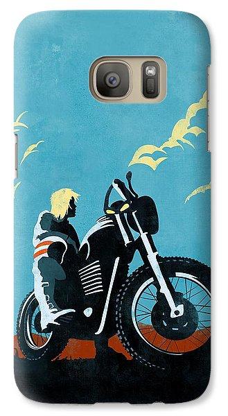 Motorcycle Galaxy S7 Case - Retro Scrambler Motorbike by Sassan Filsoof