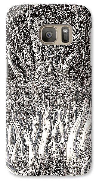 Galaxy Case featuring the drawing Revolution In Shitaki Forest by Al Goldfarb