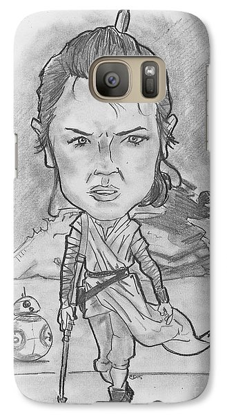 Galaxy Case featuring the drawing Rey The Force Awakens by Chris DelVecchio