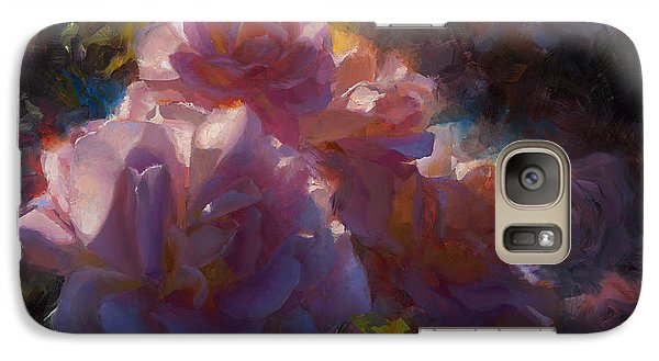 Galaxy Case featuring the painting Rhapsody Roses - Flowers In The Garden Painting by Karen Whitworth
