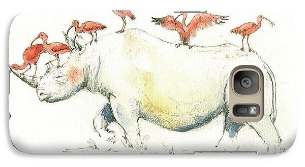 Rhino And Ibis Galaxy Case by Juan Bosco