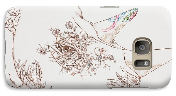 Galaxy Case featuring the drawing Rhino by Karen Robey