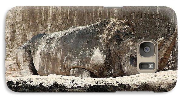 Galaxy Case featuring the digital art Rhino by Walter Chamberlain
