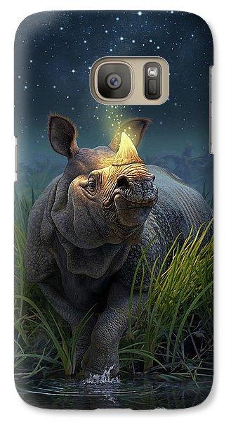 Rhinoceros Unicornis Galaxy Case by Jerry LoFaro