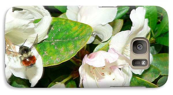 Galaxy Case featuring the photograph Rhododendron And Bee by Larry Keahey