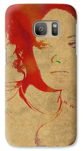Rihanna Watercolor Portrait Galaxy S7 Case