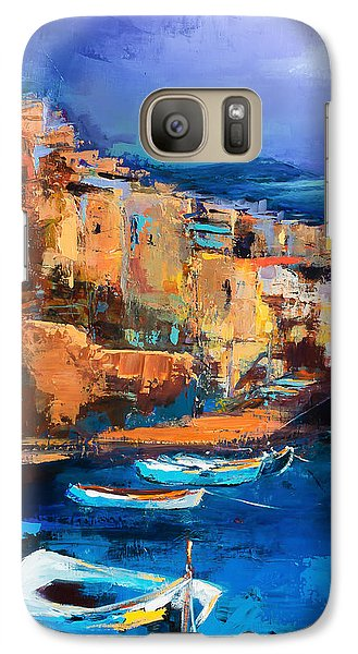 Galaxy Case featuring the painting Riomaggiore - Cinque Terre by Elise Palmigiani