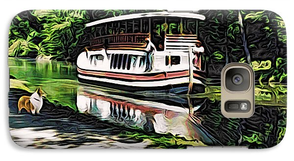 Galaxy Case featuring the digital art River Boat With Welsh Corgi by Kathy Kelly