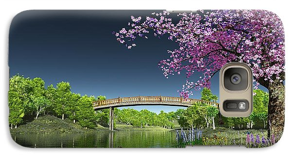 Galaxy Case featuring the digital art River Bridge Cherry Tree Blosson by Walter Colvin