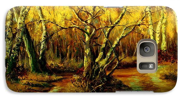 Galaxy Case featuring the painting River In The Forest by Henryk Gorecki