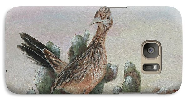 Galaxy Case featuring the painting Roadrunner In Snow by Roseann Gilmore