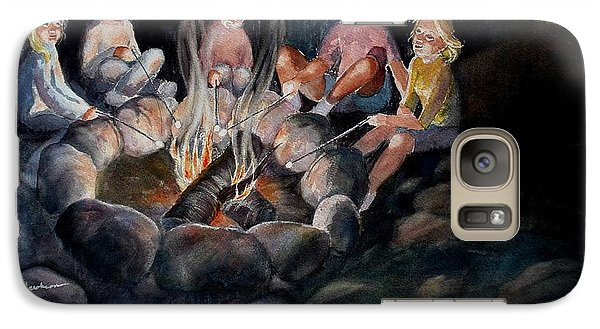 Galaxy Case featuring the painting Roasting Marshmallows by Marilyn Jacobson