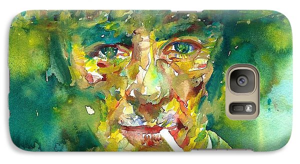 Galaxy Case featuring the painting Robert Oppenheimer - Watercolor Portrait.2 by Fabrizio Cassetta