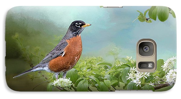 Galaxy Case featuring the photograph Robin In Chinese Fringe Tree by Bonnie Barry