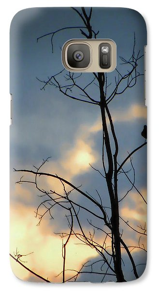 Galaxy Case featuring the photograph Robin Watching Sunset After The Storm by Sandi OReilly