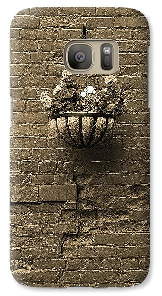 Galaxy Case featuring the photograph Rochester, New York - Wall And Flowers Sepia by Frank Romeo