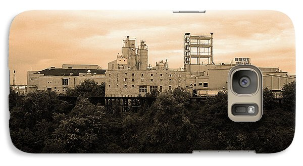 Galaxy Case featuring the photograph Rochester, Ny - Factory On A Hill Sepia by Frank Romeo