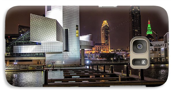 Galaxy Case featuring the photograph Rock Hall Of Fame And Cleveland Skyline by Peter Ciro