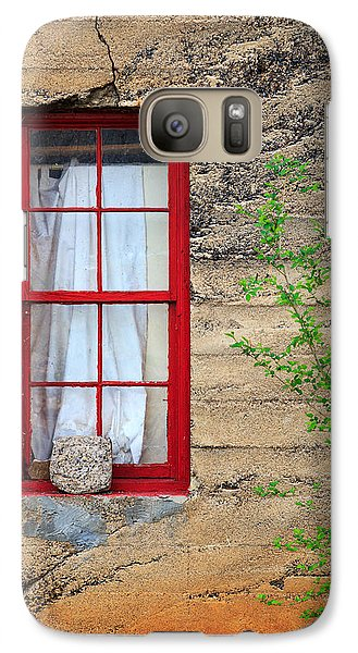 Galaxy Case featuring the photograph Rock On A Red Window by James Eddy