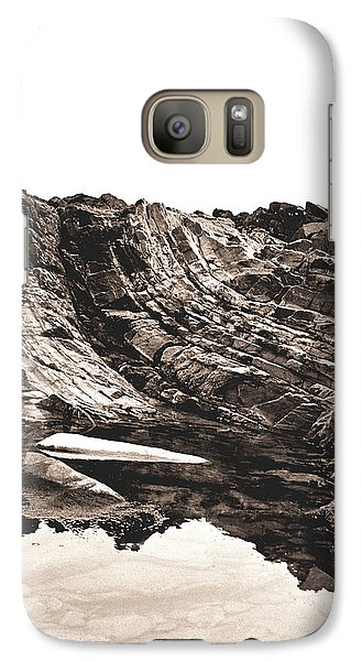 Galaxy Case featuring the photograph Rock - Sepia Detail by Rebecca Harman