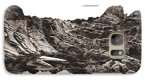 Galaxy Case featuring the photograph Rock - Sepia by Rebecca Harman