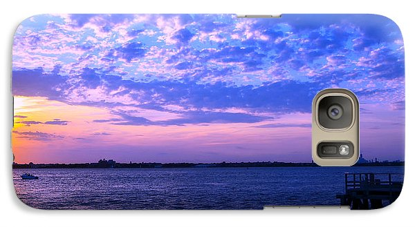 Galaxy Case featuring the photograph Rockaway Point Dock Sunset Violet Orange by Maureen E Ritter