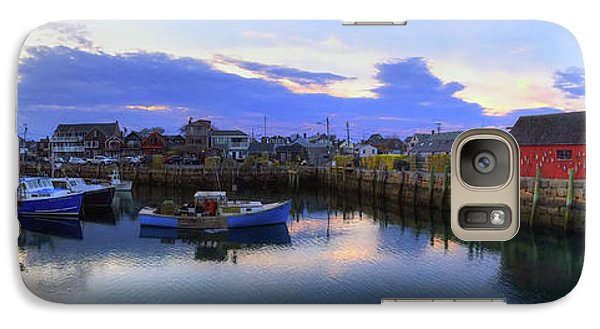 Galaxy Case featuring the photograph Rockport Harbor Sunset Panoramic With Motif No1 by Joann Vitali