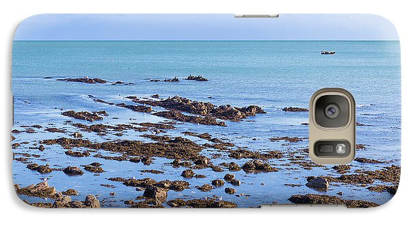 Galaxy Case featuring the photograph Rocks And Seaweed And Seagulls In The Irish Sea At Howth by Semmick Photo