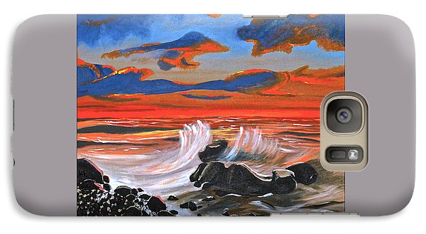 Galaxy Case featuring the painting Rocky Cove by Donna Blossom
