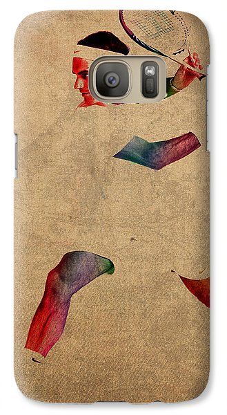 Roger Federer Watercolor Portrait On Worn Canvas Galaxy Case by Design Turnpike