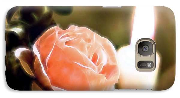 Galaxy Case featuring the digital art Romance In A Peach Rose by Linda Phelps