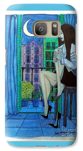 Galaxy Case featuring the painting Romantic Woman At Balcony by Don Pedro De Gracia
