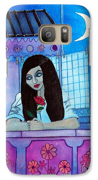 Galaxy Case featuring the painting Romantic Woman In The Terrace At Night by Don Pedro De Gracia