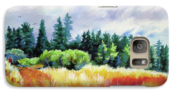 Galaxy Case featuring the painting Romp On The Hill by Kathy Braud