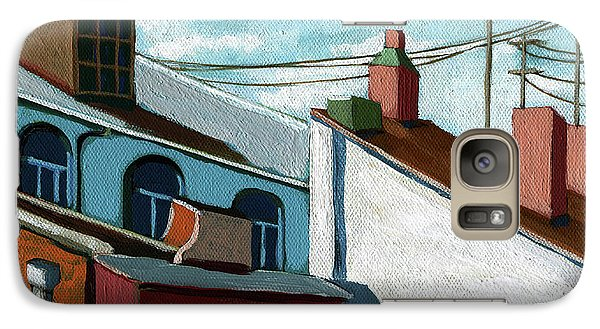 Galaxy Case featuring the painting Rooftops by Linda Apple