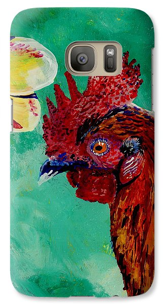 Galaxy Case featuring the painting Rooster And Plumeria by Marionette Taboniar