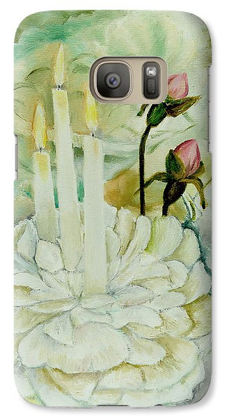 Galaxy Case featuring the painting Rose Candles by Miriam Leah