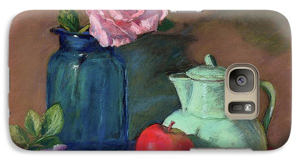 Galaxy Case featuring the painting Rose In Blue Jar by Vikki Bouffard