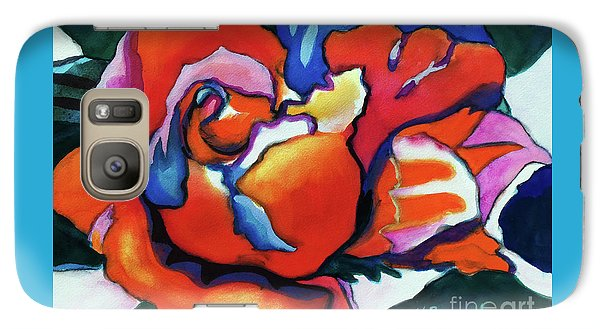 Galaxy Case featuring the painting Rose In Outline by Kathy Braud