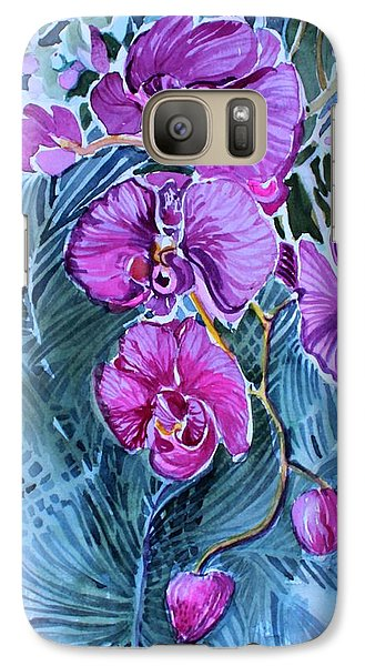 Galaxy Case featuring the painting Rose Orchids by Mindy Newman