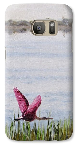Galaxy Case featuring the painting Roseate Spoonbill Flight Over The Bay by Jimmie Bartlett