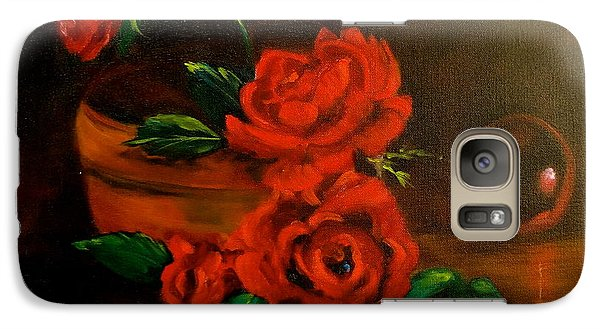 Galaxy Case featuring the painting Roses Are Red by Jenny Lee