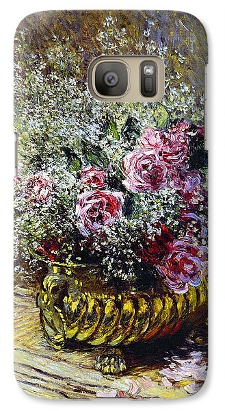 Roses In A Copper Vase Galaxy S7 Case by Claude Monet