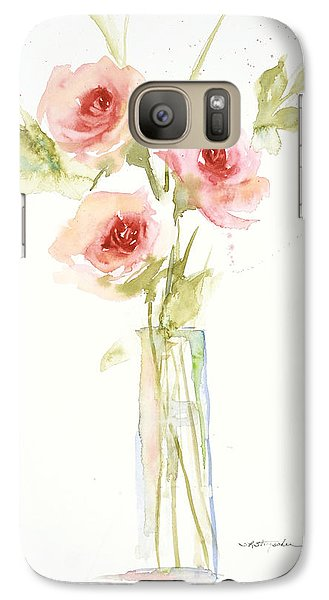 Galaxy Case featuring the painting Roses In Glass Vase by Sandra Strohschein