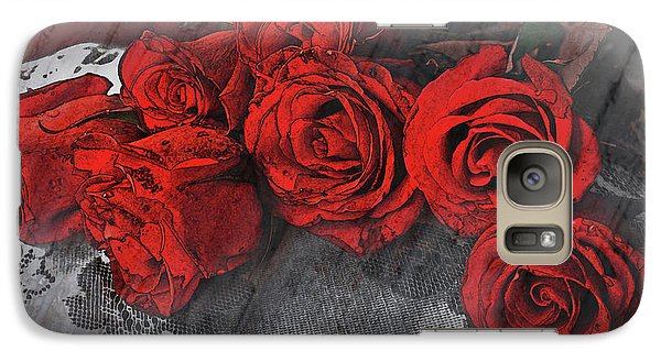 Galaxy Case featuring the photograph Roses On Lace by Bonnie Willis